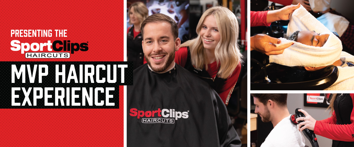 The Sport Clips Haircuts of Excelsior MVP Haircut Experience with stylist giving a client a haircut, a hot towel placed on his face, and using a massager on a clients upper back